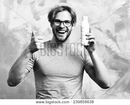 Bearded Man, Short Beard. Caucasian Sexy Happy Smilling Macho With Moustache In Glasses Wearing Gray