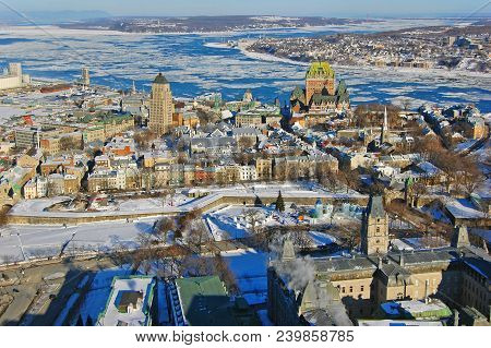 Quebec Lower City, St. Lawrence River In Winter, Quebec, Canada. Historic District Of Quebec City Is