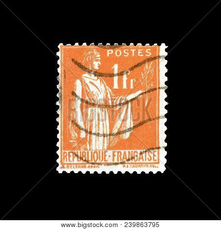 France - Circa 1933 : Cancelled Postage Stamp Printed By France, That Shows Allegory Of Peace.
