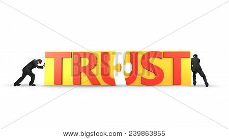 Two Businessmen Pushing Yellow Puzzle Pieces With Red Word Trust Together, Isolated On White Backgro