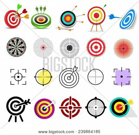 Target Icon Vector Arrow In Aim Of Dartboard And Goal Of Success Business Strategy Illustration Set