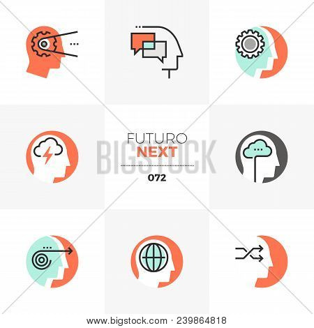 Modern Flat Icons Set Of Emotional Intelligence, Mind Control Progress. Unique Color Flat Graphics E
