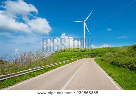 Wind Turbine At The End Of A Street