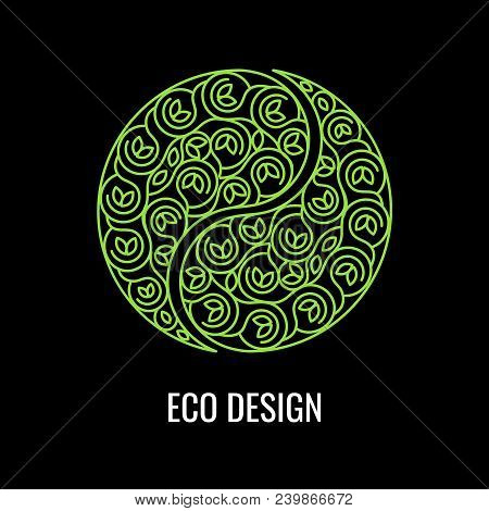 Abstract Natural Linear Logo. Green Symbol Yin Yang On Black Background. Vector Sign For Eco Design.