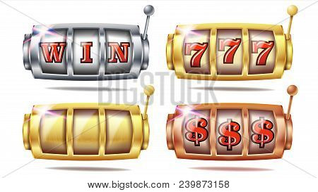 Slot Machine Set Vector. 777. Golden, Silver, Bronze. Gambling Poster. Spin Object Spin Machine Temp