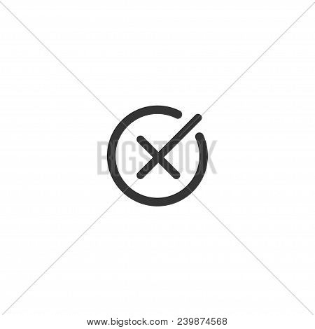 Rejection Symbol Vector Buttons For Vote, Election Choice. Circle Brush Stroke Borders. Symbolic Ok