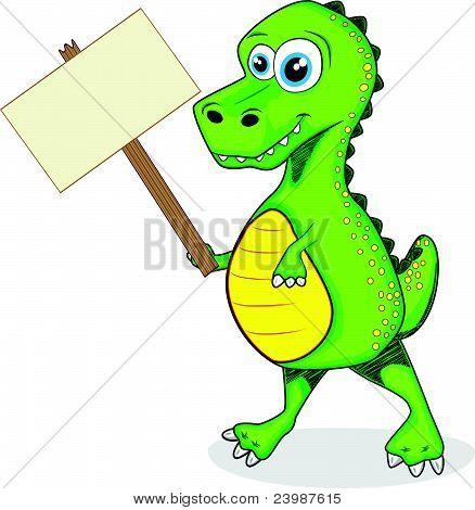 cute dinosaur t-rex holding wood sign