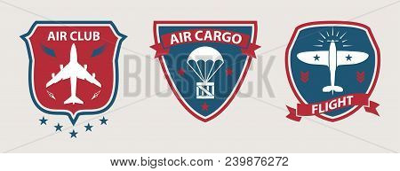 Airplane Tours And Aviation Badges, Retro Style