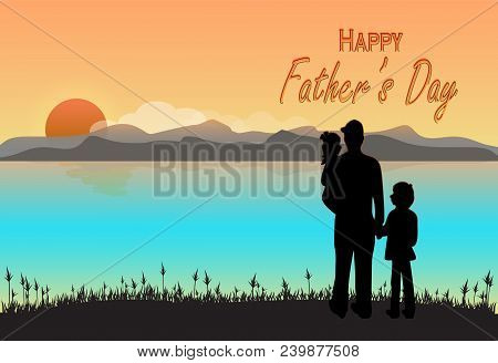 Father And Children With Happy Father's Day Text On Sunset Or Sunrise Background