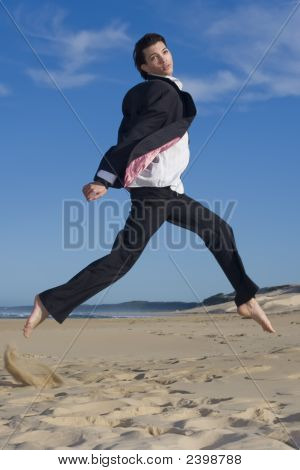 Jumping Business Professional