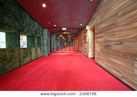 Corridor, Wood An Marble Walls And Red Velvet Carpet