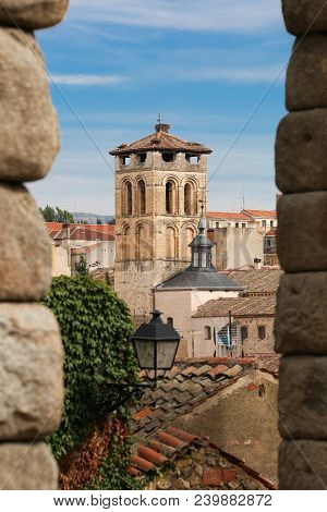 Old Town In Segovia, Spain. View From Aqueduct