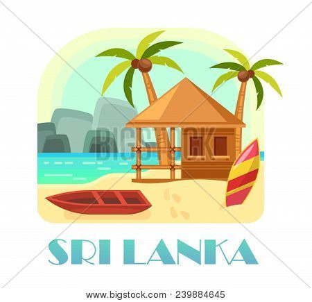 Sri Lanka Island Recreation Ads. Democratic Republic Of India With Sand Beach And Boat, Wooden Hut A