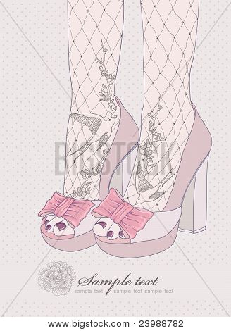 Fashion illustration.Background with high heels shoes. Tights with birds and flowers ornament. Invitation or birthday card. poster