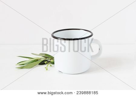 Styled Stock Photo. Feminine Still Life Composition With Blank White Metal Coffee Enamel Mug And Gre