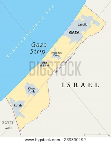 Gaza Strip Political Map. Self Governing Palestinian Territory On The Coast Of Mediterranean Sea Tha