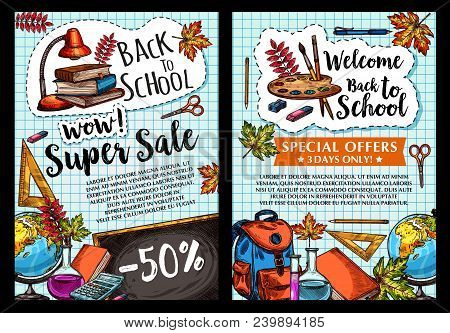 Welcome Back To School Sale Posters Of Stationery And Study Supplies For Autumn September School Sho