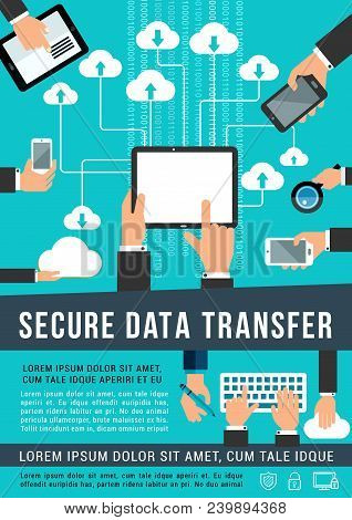 Secure Data Transfer And Internet Cloud Network Share Technology Vector Poster. Cloud Sharing System
