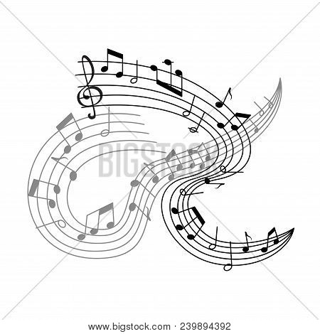 Musical Staff Or Music Stave Poster For Music Concert. Vector Musical Notes On Staff Icon Of Notes A