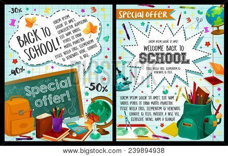 Welcome Back To School Posters Of Stationery Study Supplies For September Autumn School Season. Vect