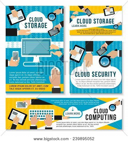 Cloud Storage And Digital Data Transmission Security Posters For Internet Communication Technology.