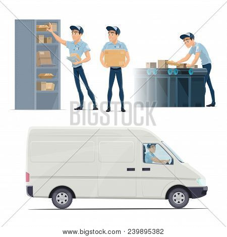 Post Mail Delivery And Postman Work Flat Icons. Vector Isolated Mailman Sorting Letters Envelopes An