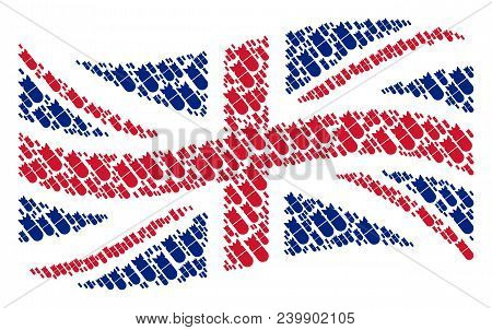 Waving United Kingdom State Flag Pattern Constructed Of Aviation Bomb Elements. Vector Aviation Bomb