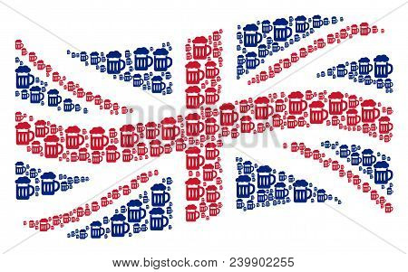 Waving British Flag Collage Made Of Beer Glass Design Elements. Vector Beer Glass Icons Are Organize