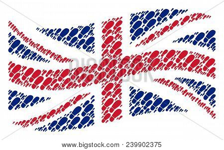 Waving United Kingdom State Flag Concept Made Of Boot Footprint Icons. Vector Boot Footprint Icons A