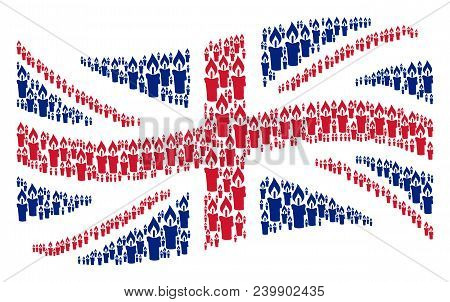 Waving United Kingdom State Flag Concept Done Of Candle Icons. Vector Candle Elements Are United Int