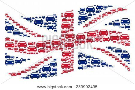 Waving Great Britain Flag Composition Constructed Of Car Design Elements. Vector Car Elements Are Fo