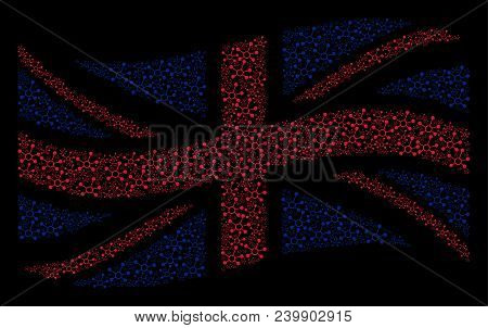 Waving British State Flag Composition Composed Of Connection Links Design Elements. Vector Connectio