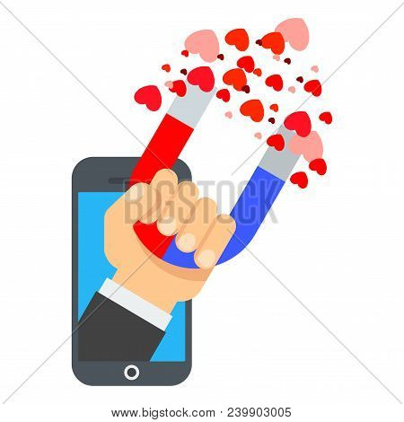 Attraction Of Hearts In Smartphone. Flat Vector Cartoon Illustration. Objects Isolated On White Back