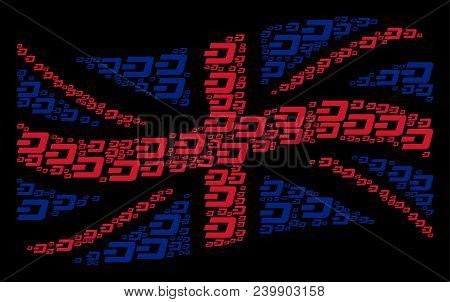 Waving Uk Official Flag Composition Constructed Of Dash Currency Icons. Vector Dash Currency Items A