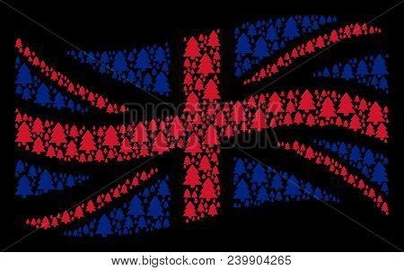Waving English State Flag Collage Organized Of Fir-tree Design Elements. Vector Fir-tree Items Are C