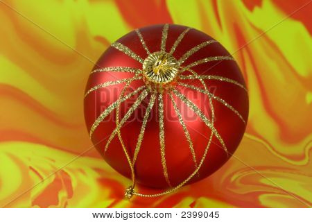 Christmas Ball On Colored Background