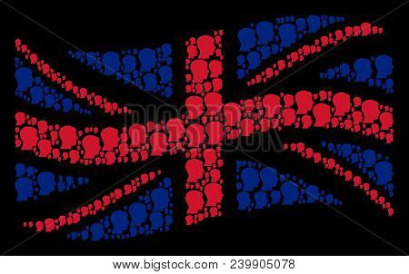 Waving Uk Official Flag Composition Combined Of Man Head Profile Icons. Vector Man Head Profile Item