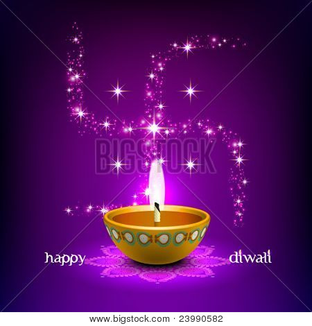 Vector Diwali Oil Lamp with Swastica Background