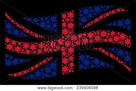 Waving Uk State Flag Collage Designed Of Six Pointed Star Icons. Vector Six Pointed Star Icons Are C