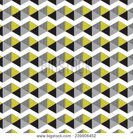 Black Silver Yellow Triangle With Dot And Line Inside Triangle And White Zigzag Line Pattern Backgro