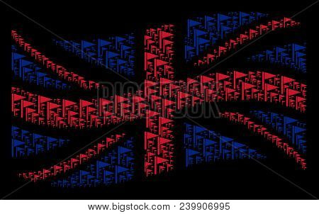 Waving British Flag Composition Created Of Triangle Flag Design Elements. Vector Triangle Flag Picto