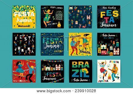 Festa Junina. Vector Templates For Latin American Holiday, The June Party Of Brazil. Design For Card