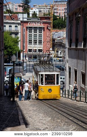 Lisbon, Portugal - May 26, 2013: Elevador da Gloria funicular connecting the Restauradores Square and Liberdade Avenue to the popular Bairro Alto District