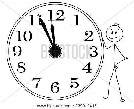 Cartoon Stick Man Drawing Conceptual Illustration Of Smiling Businessman Leaning On Big Wall Clock D