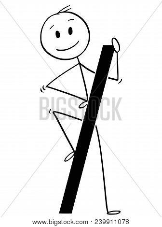 Cartoon Stick Man Drawing Conceptual Illustration Of Businessman Holding Big Forward Slash Or Divisi