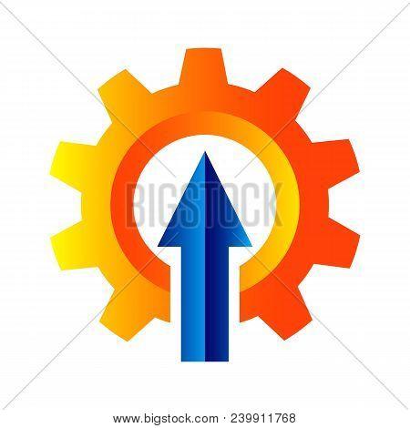 Vector Logo Design Of Gear With Arrow Up Inside The Gear. Power Up Gear Logo