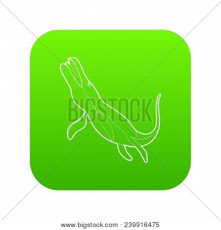 Underwater Dinosaur Icon Green Vector Isolated On White Background
