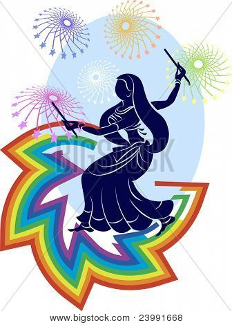 garba dancer rainbow fireworks