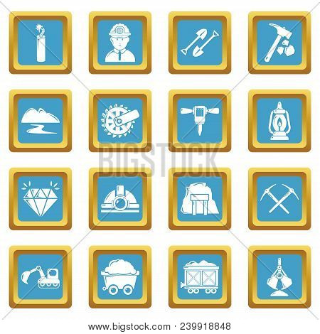 Mining Minerals Business Icons Set Vector Sapphirine Square Isolated On White Background