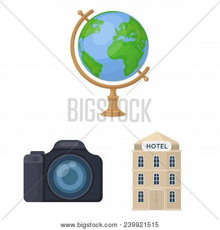 Rest And Travel Cartoon Icons In Set Collection For Design. Transport, Tourism Vector Symbol Stock